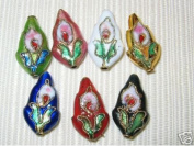 50 New 11x19mm Mixed Leaf Cloisonne Beads