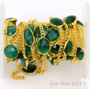 One Foot Wholesale Beautiful Emerald Gold Vermeil Bezel Connectors With 24k Gold Plated Chain