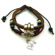 Skull Flag Design Leather Bracelet with Metallic Rings and Wooden Beads