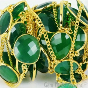 One foot Wholesale Beautiful Green Onyx Gold Vermeil Bezel connectors with 24k gold Plated Chain
