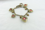 Vintage Style Five Angel Wing Red Hearts Chain Bracelet