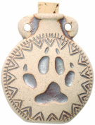 Peruvian Hand Crafted Ceramic High Fire Paw Print Bottle Pendant, 49mm