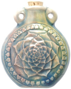 Peruvian Hand Crafted Ceramic Raku Glazed Lotus Bottle Pendant, 49mm