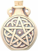 Peruvian Hand Crafted Ceramic High Fire Pentagram Bottle Pendant, 49mm
