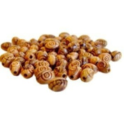 100 Oval Carved Olive Wood Beads-Oval 9mm