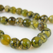 Olive Green Crackle Agate Beads - Dragon Vein - Faceted Round 8mm