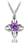 Sliver Plated-925 Sterling Silver Lovely Bling Fashion Purple Cubic Zirconia Four Leaf Clover Pendant Necklace / Chain--(With Cutely Gift Box)-----. From USA--takes 2-6 working days with shelley.kz INC--------(1 pcs only)------