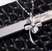 Sliver Plated-925 Sterling Silver Lovely Bling Purple Cubic Zirconia Four Leaf Clover Pendant Necklace / Chain--(With Cutely Gift Box)-----. From USA--takes 2-6 working days with shelley.kz INC--------(1 pcs only)------