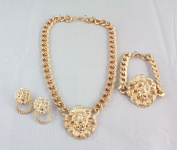 New Chunky Gold Plated Link Lion Head Choker Necklace Bracelet Earrings Set
