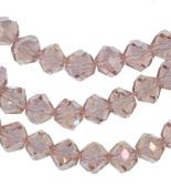 "Peach Crystal Glass Fancy Cut Beads Strand 8mm 15.5"""