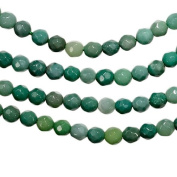 """Green Moss Opal Facet 4mm Round Small Beads Strand 15.5"""""""