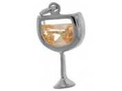 Sterling Silver and Cubic Zirconia White Wine Charm