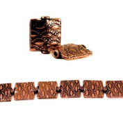 12mm Antiqued Copper Sunset Embossed Square Beads, 8 inch, 15 beads