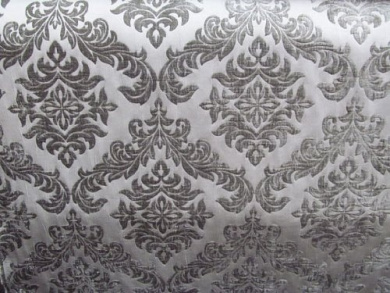 140cm Wide Upholstery Fabric Shelby Collection Flocked Damask - (Shadow)