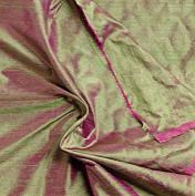 Green/fuchsia 2tone 100% Silk Dupioni Fabric 140cm By the Yard