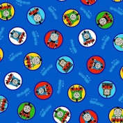 THOMAS THE TANK ENGINE & FRIENDS Fabric on Navy Blue THOMAS, PERCY & MORE (Great for QUILTING, SEWING, CRAFT PROJECTS, THROW PILLOWS & More) 1 Yard x 110cm Wide