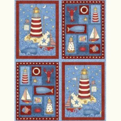 SAFE harbour Fabric Pillow Panel LIGHTHOUSE & SAILBOATS (Great For Quilting, Sewing, Craft Projects, Pillow Cases or Throw Pillows) 70cm x 110cm