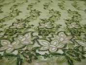 Green- Fancy Lace Design with Embroidery and Beads on Polyester Mesh