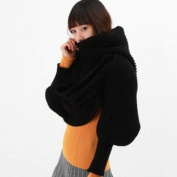 Women's Crochet Knit Long Soft Wrap Shawl Scarves with Sleeves Black