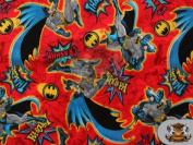 "DC Comics BATMAN IN ACTION on Red Fabric ""CRASHHH!"" (Great for QUILTING, SEWING, CRAFT PROJECTS, THROW PILLOWS & More) 1 3/4 Yards x 110cm Wide"