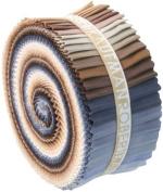 Kona Cotton Solids Neutrals Palette Roll Up Jelly Roll 100cm - 6.4cm Quilting Fabric Strips Robert Kaufman RU-233-41