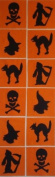 12 Applique Scrap Halloween Quilt Blocks 17cm Squares