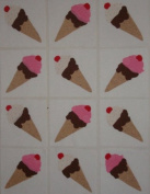 12 Applique Scrap Ice Cream Cone Quilt Blocks 17cm Squares