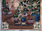 "Christmas ""DECK THE HALLS!"" Tapestry JACQUARD WOVEN Fabric Panel (Great For Sewing, Craft Projects, Wall Hangings, & More) 60cm x 80cm"