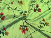Green 100% Silk Shantung W/embroidery Fabric 140cm Wide By the Yard