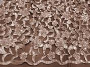 Peach Cutout Satin W/pearl Beads Bridal Lace Fabric 120cm By the Yard