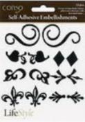 Conso Lifestyle Self-adhesive Black Embellishments Monograms