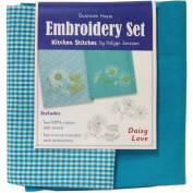Daisy Love Kitchen Stitches Embroidery Set-Solid Turquoise & Turquoise/White Cheque