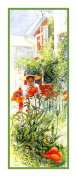Swedish Artist Carl Larsson Girl in Bonnet with Poppies Counted Cross Stitch Chart from Watercolour