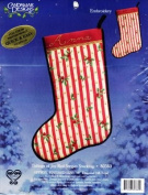 Tidings of Joy Red Stripes Embroidery Stocking Kit