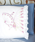 Umbrella Lady Pillowcases - 2 standard size (50cm x 80cm ) Stamped Embroidery Kit