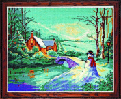 Winter Cottage Counted Cross Stitch Kit-20cm x 25cm 18 Count