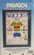 Soccer - Counted Cross Stitch Picture Kit w/ Frame - Size 13cm X 18cm