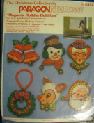 "Paragon Needlecraft Christmas ""Magnetic Holiday Hold-Ups""; By Virginia Ballman; 6416; Set of Six Sparkling Ornaments"