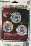 WonderArt Set of Three Christmas Ornaments Counted Cross Stitch Kit