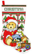 Design Works Counted Cross stitch kit Stocking - Teddy Bear Santa