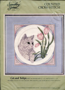 Something Special Cat and Tulips Counted Cross Stitch Kit ~ 12x12