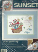 Vintage Dimension Sunset 13632 Counted Cross Stitch Kit BabyHugs Land Ho! Birth Recored