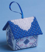 The Nutmeg Company Blue & Silver Gingerbread House 3D Cross Stitch Kit