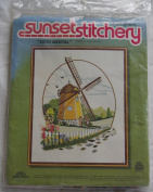 "Vintage 1981 Sunset Stitchery "" Dutch Windmill "" Kit - Designed by Barbara Jennings"