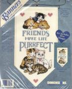 Purrfect Friends - 8x13 Cross Stitch Banner Kit