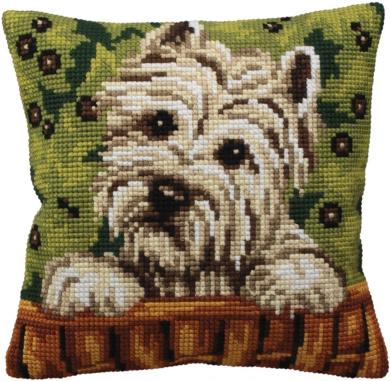 Collection D'art Westy Pillow Cross Stitch Kit 15 3/4'X15 3/4'