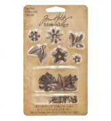 Metal Foliage with Fasteners by Tim Holtz Idea-ology, 18 per Pack, Various Sizes, Antique Finishes, TH92788