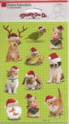 Christmas Pets Santa Hats Scrapbook Stickers