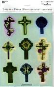Christian Crosses Layered Foil Scrapbook Stickers. 9834)