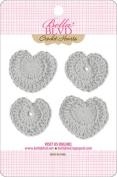 Bella Blvd Scallop Grey Crochet Heart Embellishments